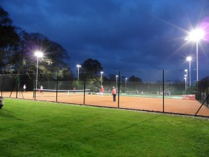 our floodlit tennis courts