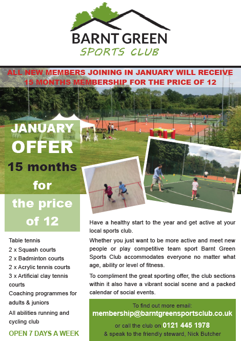 New Member Offer 15 months for the price of 12 - Barnt Green